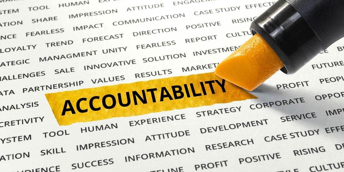 Photo of the word accountability