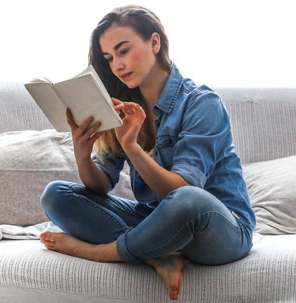 Photo of a girl reading a book