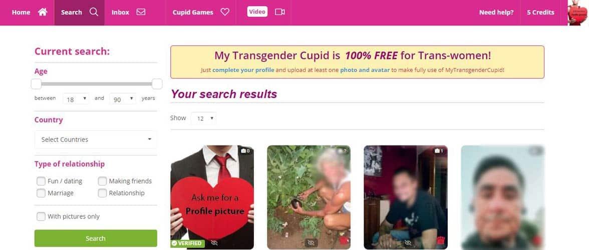 Screenshot of MyTransgenderCupid