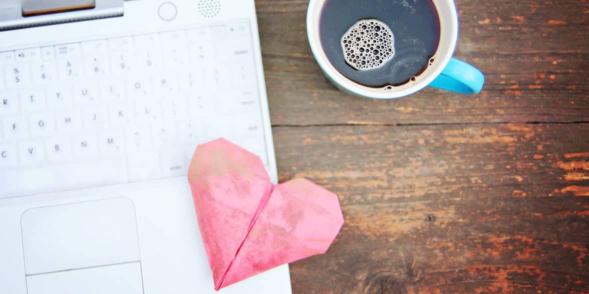 Photo of heart on laptop